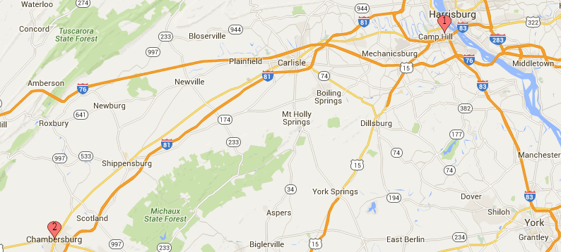 REM Staffing - Google Map to Lemoyne Locations